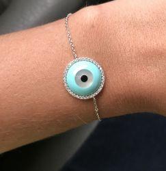NEW pulseira olho grego prata 925 folheada, cravejada em zirconias