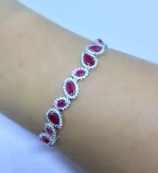 Bracelete gotas rubi cravejada em zirconias