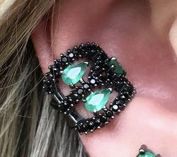 Piercing fake 3 gotas esmeralda com Zirconia negra