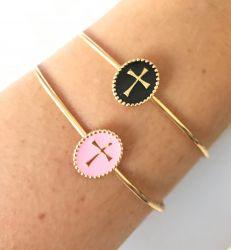 Bracelete Cruz resina (escolha a cor)