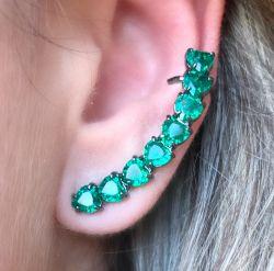 Ear Cuff  Coracoes Esmeralda Helena