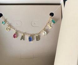 Novidade colar letras com pedras (até 5 letras)