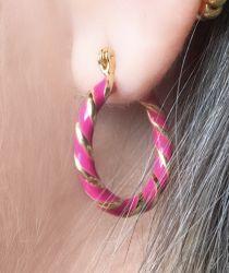 Argola torcida Pink (vem o par)
