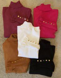 Trico babados na manga e botões tamanho único (escolha a cor)