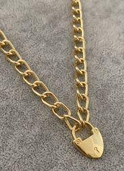Colar elos cadeado coração