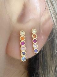 2 pares Ear Hook palito Rainbow