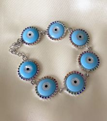 Pulseira olho grego azul prata 925 com zirconias Rainbow